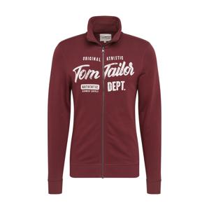 TOM TAILOR Tepláková bunda  biela / tmavočervená