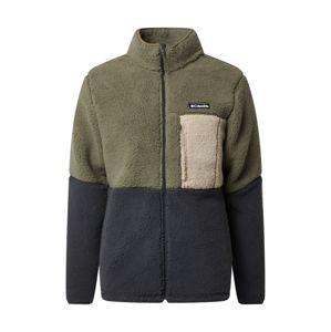 COLUMBIA Flisová bunda  zelená / tmavosivá / krémová