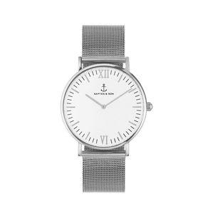 Kapten & Son Analógové hodinky 'Campina Mesh'  strieborná / biela