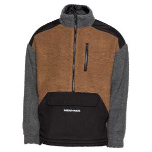 Mennace Flisová bunda  svetlohnedá / sivá / čierna