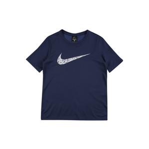 NIKE Funkčné tričko  biela / námornícka modrá