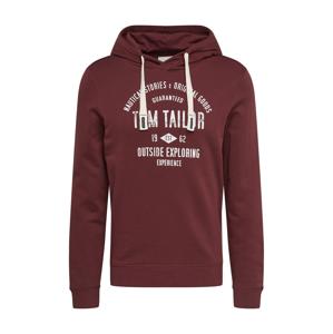 TOM TAILOR Mikina  biela / vínovo červená