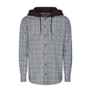 Urban Classics Košeľa 'Hooded Glencheck Shirt'  antracitová / vínovo červená / biela