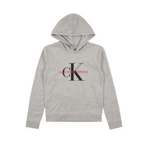 Calvin Klein Underwear Mikina  sivá melírovaná / čierna / červená