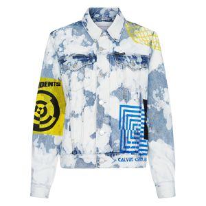 Calvin Klein Jeans Prechodná bunda  modrá denim / biela / žltá