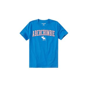 Abercrombie & Fitch Tričko 'SB19-FEB'  modrá / neónovo červená / biela