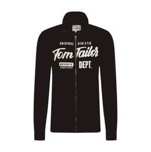 TOM TAILOR Tepláková bunda  čierna / biela