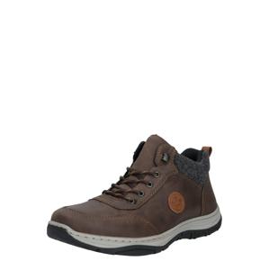 RIEKER Športové šnurovacie topánky  čokoládová / sivá melírovaná