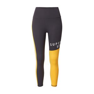 Superdry Športové nohavice  žltá / biela / sivá