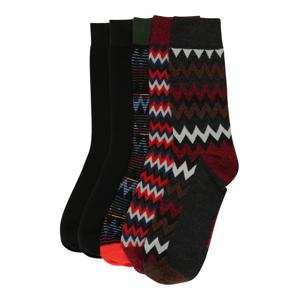 JACK & JONES Ponožky 'JACWINTER'  čierna / červená / sivá