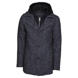 INDICODE JEANS Prechodný kabát 'Adair'  čierna / čierna melírovaná