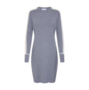 Calvin Klein Večerné šaty 'LS KNITTED SWEATER DRESS'  sivá